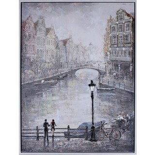 Peter Kiyanitsa's 'Amsterdam Lovers' 31.75X41.75 Large Framed Canvas Wall Art