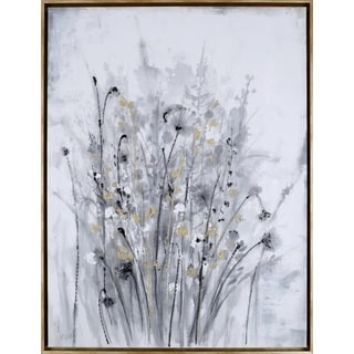 'Golden Floral II' 31.5X41.5 Framed Gallery-wrapped Wall Artwork