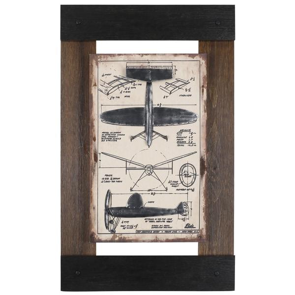 Sam O.'s 'Metal Plane II' 24.5X40 Framed Canvas Wall Artwork