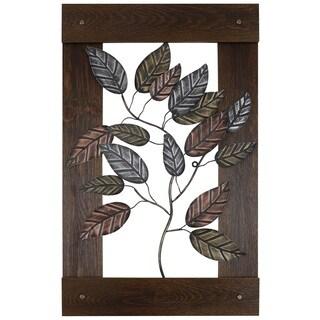 Metal Leaves Framed Art