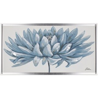 'Blue Floral' 26.5X50 Silver-framed Canvas Wall Art