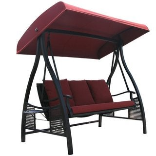 Abba Patio Outdoor Red 3 Seat Porch Swing With Adjustable Polyester Canopy