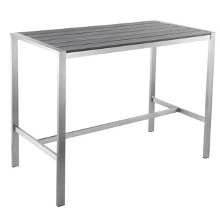 Cortesi Home Haven Collection Grey Outdoor Long Bar Table