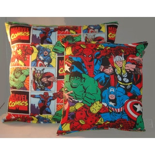 Lillowz Marvel Classic Avengers Reversible 14-inch Throw Pillow With Bonus Accessory/Travel Pillow
