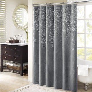 Madison Park Evelyn Embroidered Grey Shower Curtain