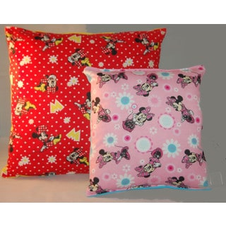 Disney Minnie Mouse Multicolored Cotton 14-inch Reversible Throw Pillow (Set of 2)