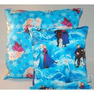 Lillowz Disney Frozen Blue Cotton 14-inch Reversible Throw Pillow With Bonus Disney Frozen 11-inch Accessory/Travel Pillow