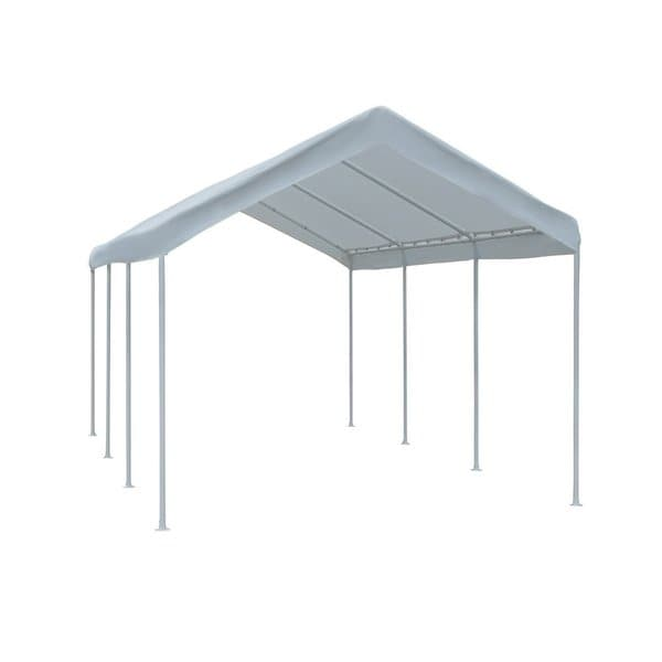 Abba Patio White 10 Foot X 20 Foot Outdoor Domain Carport