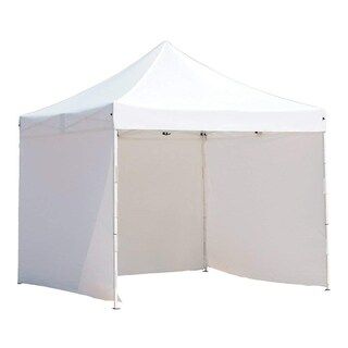 Abba Patio White Steel and Fabric Portable Outdoor Event Canopy (10' x 10')