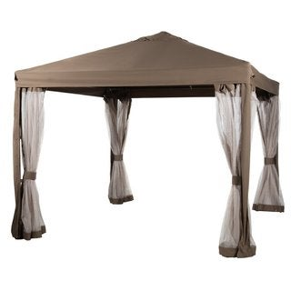 Abba Patio Brown 10'x10' Fully-enclosed Garden Canopy Gazebo with Mesh Insect Screen