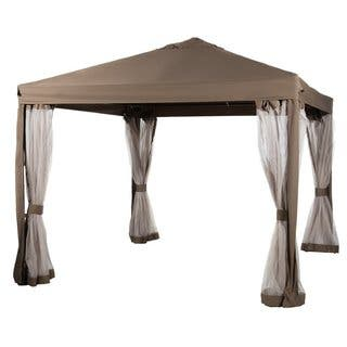 Abba Patio Brown 10'x10' Fully-enclosed Garden Canopy Gazebo with Mesh Insect Screen|https://ak1.ostkcdn.com/images/products/11818554/P18724766.jpg?impolicy=medium