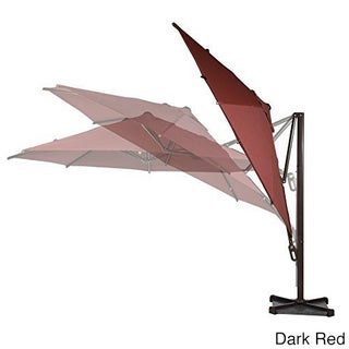 Abba Patio Polyester 10' Square Easy-open Offset Outdoor Umbrella Parasol With Cross Base