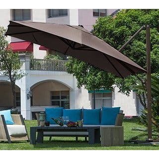 Abba Patio Polyester 10' Square Easy-open Offset Outdoor Umbrella Parasol With Cross Base|https://ak1.ostkcdn.com/images/products/11818557/P18724770.jpg?impolicy=medium
