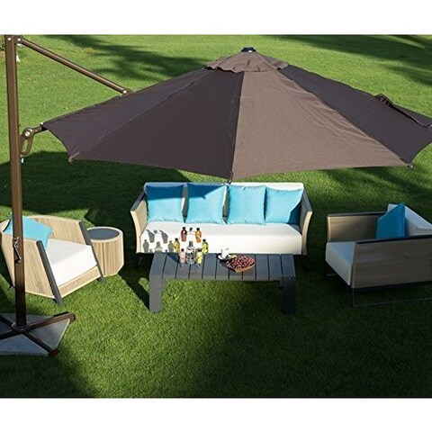 Abba Patio 11' Octagon Cantilever Tilt/Crank Lift Umbrella w Cross Base