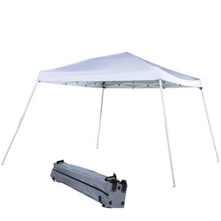 Abba Patio White 9-foot Slant-leg Instant Pop-up Folding Canopy With Roller Bag