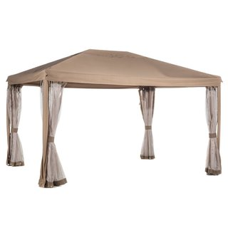 Abba Patio Brown 10'x12' Fully-enclosed Garden Gazebo Patio Canopy with Mosquito Netting