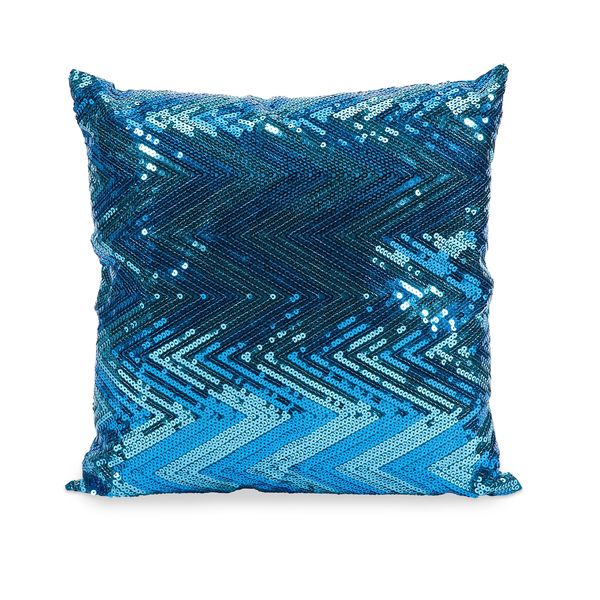 Estradin Blue Sequin Chevron Throw Pillow