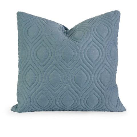 IK Kavita Blue Linen Quilted Throw Pillow w/ Down Fill