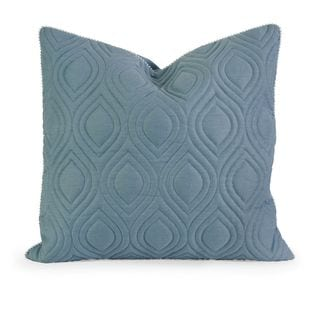 IK Kavita Blue Linen Quilted Throw Pillow w/ Down Fill