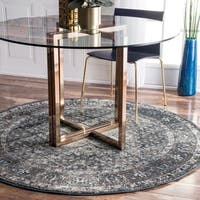 Maison Rouge Ciardi Distressed Traditional Vintage Fancy Blue Round Rug  - 5'3