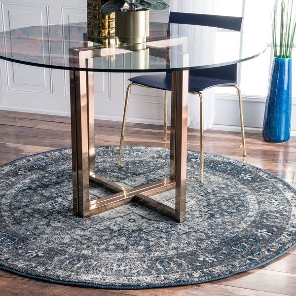 Nuloom Distressed Traditional Vintage Fancy Blue Round Rug