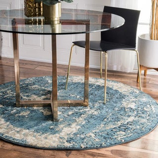nuLOOM Distressed Traditional Vintage Fancy Blue Round Rug (5'3 Round)