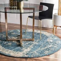 Maison Rouge Ciardi Distressed Traditional Vintage Fancy Blue Round Rug - 5'3 Round
