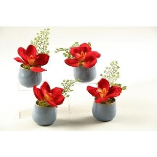Dark Red Ceramic Set Of 4 Cymbidium Orchids