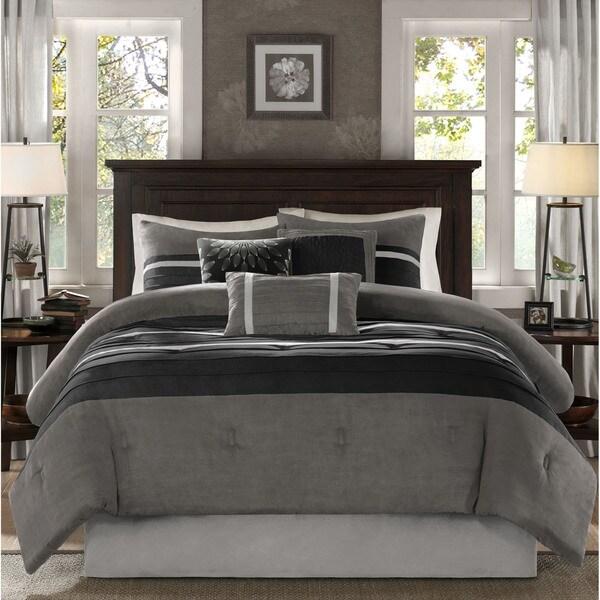 Madison Park Porter Black/ Grey Comforter Set King Size (As Is Item)