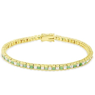 Dolce Giavonna Gold Overlay Emerald Tennis Bracelet