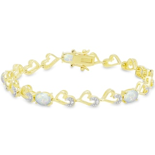 Dolce Giavonna Gold Over Silver Opal and Diamond Accent Heart Bracelet