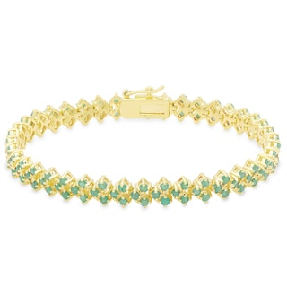 Dolce Giavonna Gold Overlay Emerald Three Row Bracelet