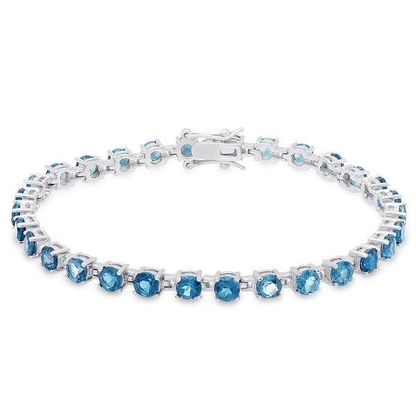 Blue Topaz Bracelet in Rhodium Plated Sterling Silver 4.5 Ct