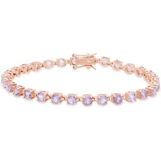 Dolce Giavonna Gold Over Silver Amethyst Tennis Bracelet