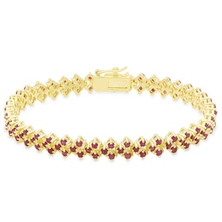 Dolce Giavonna Gold Overlay Ruby Three Row Bracelet