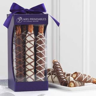 Chocolate and Caramel Dipped Pretzel Rods 9-piece Set