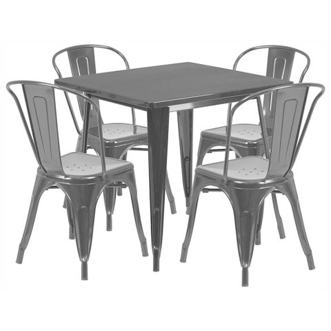 Offex 31.5 inch Home Indoor Metal Square Cafe Table Set With 4 Stack Chairs