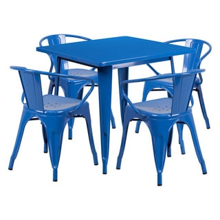"Offex 31.5"" Home Indoor Square Metal Cafe Table Set With 4 Arm Chairs"