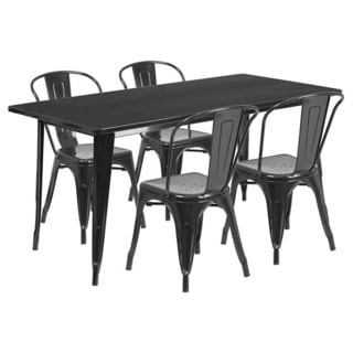 Offex 31.5 inches x 63 inches Home Indoor Rectangular Metal Cafe Table Set With 4 Stack Chairs