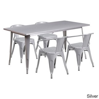 Offex 31.5 inches x 63 inches Home Indoor Rectangular Metal Cafe Table Set With 4 Arm Chairs