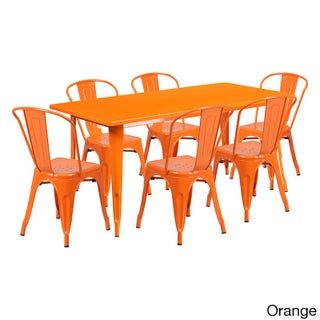Offex 31.5 inches x 63 inches Home Indoor Rectangular Metal Cafe Table Set With 6 Stack Chairs (Option: Orange)