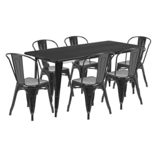 Offex 31.5 inches x 63 inches Home Indoor Rectangular Metal Cafe Table Set With 6 Stack Chairs