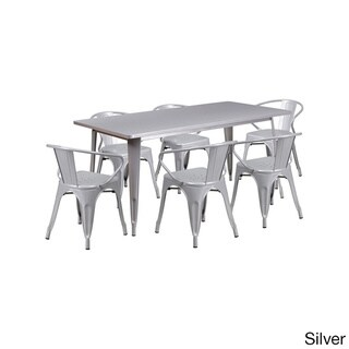 Offex 31.5 Inch x 63 Inch Home Indoor Rectangular Metal Cafe Table Set With 6 Arm Chairs