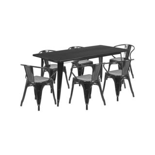 offex 315 inch x 63 inch home indoor rectangular metal cafe table set with 6 arm