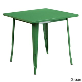 Offex Home Indoor 31.5-Inch Square Metal Cafe Table (Option: Green - Green Finish)