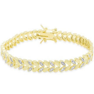Finesque Gold or Silver Overlay 1/3 Ct TDW Diamond  Leaf Design Bracelet