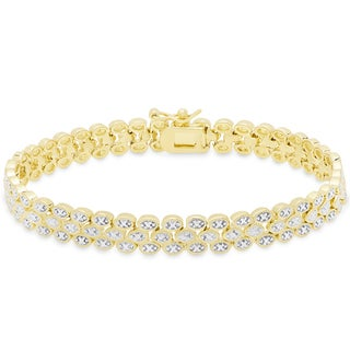 Finesque Gold Or Silver Overlay Diamond Accent Three Row Bracelet