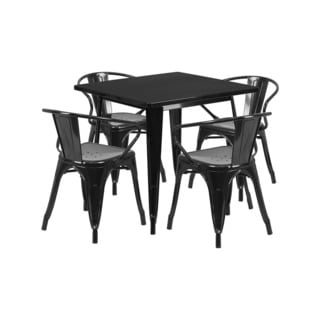 Offex Home Indoor 31.5 Inch Square Black Metal Cafe Table Set With 4 Arm Chairs