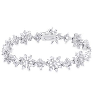 Samantha Stone Sterling Silver Cubic Zirconia Flower Bracelet
