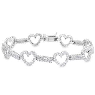 Dolce Giavonna Sterling Silver Cubic Zirconia Heart Bracelet
